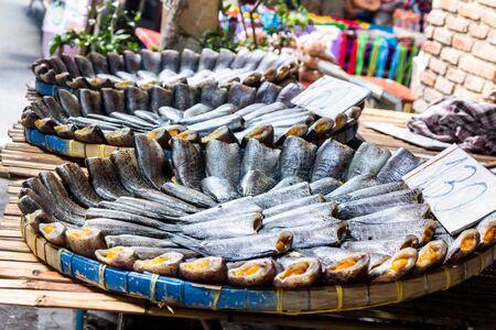 pectoralis: Closeup dried fish, trichogaster pectoralis in Thailand local market.