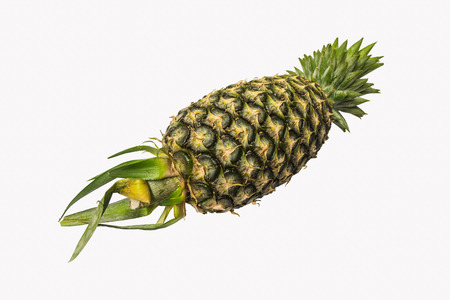 The fruit surface of pineapple is full length on the white background for your business