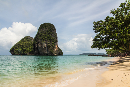Long-tail fishing boat used for traveling to Andaman Islands, Krabi, South of Thailand. Stock Photo