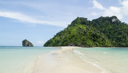 krabi wide shot of isolated paradise beach with calm clear waters. Ocean nature tranquility background