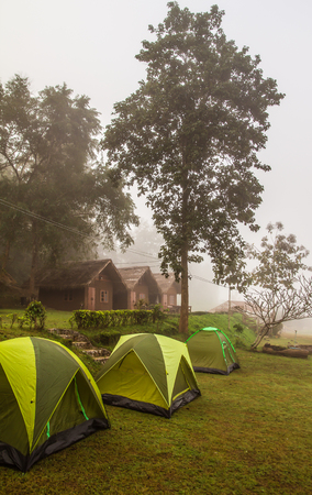 The nature. Courtyard tent camp bed in the countryside,Camping and morning fog of the holidays. Editorial