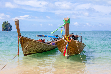 Long tail fishing boat used for traveling to Andaman Islands, Krabi, Thailand.