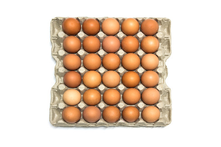 Chicken Eggs in the package on white backgroung Stock Photo