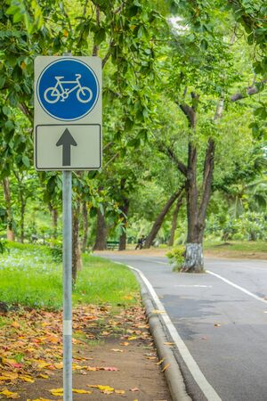 Laid curved corners bicycle signs and walkways for exercise in parks background