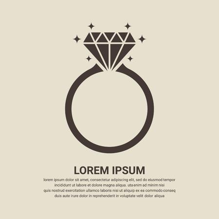 Diamond icono de anillo de compromiso - Vector