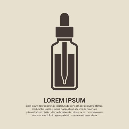 Botella de aceite esencial icono, icono de la botella cuentagotas - Vector