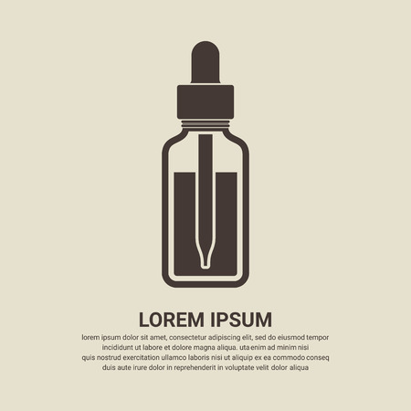 essential: Essential oil bottle icon, Dropper bottle icon - Vector