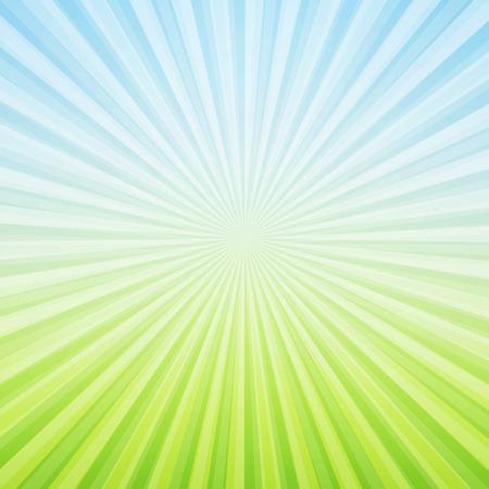 青と緑の太陽光線 - 背景ベクトル