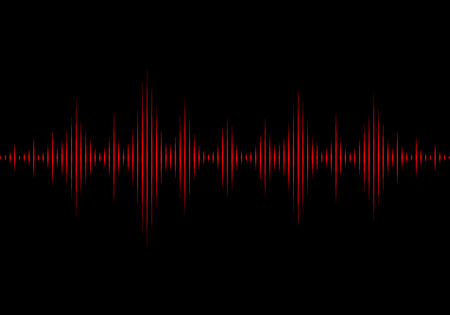sonic: Sound waves oscillating glow light, Abstract technology background - Vector