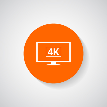 lcd tv: 4k tv icon, lcd tv monitor icon - Vector