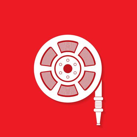 firealarm: Fire hose reel icon - Vector Illustration