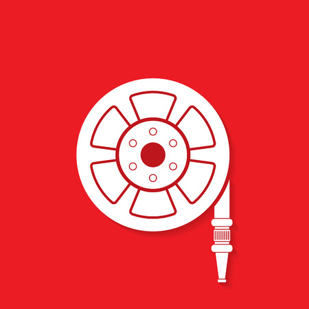 fire icon: Fire hose reel icon - Vector Illustration
