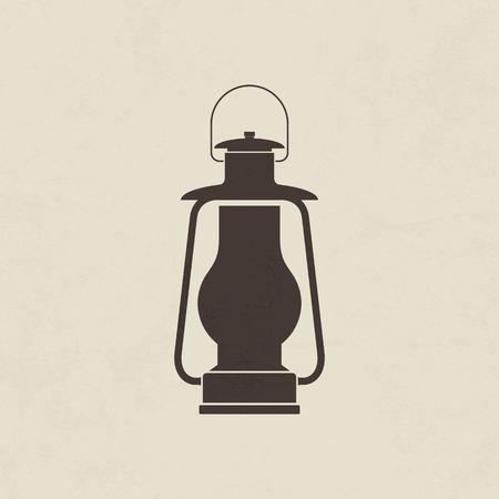 gas lamp: Camping lantern, Oil lamp icon - Vector Illustration