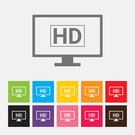 hd tv: HD TV icon - Vector Illustration
