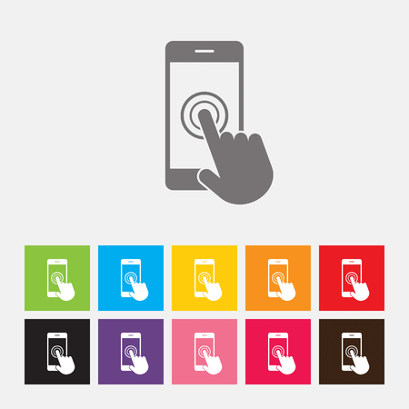 smartphone hand: Smartphone screen with hand, Touch screen icon - Vector