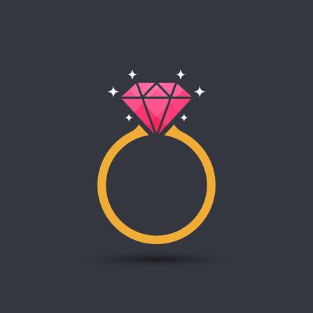 Diamond icono del anillo de compromiso