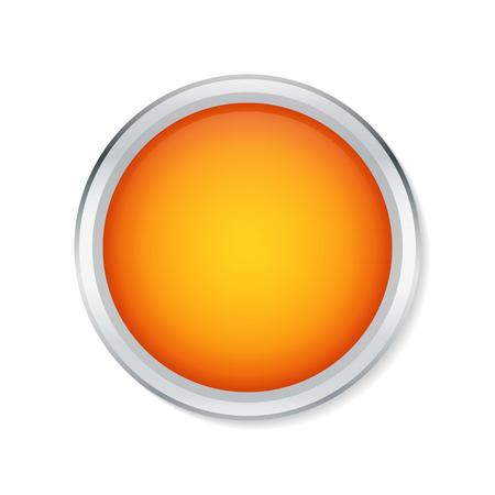 Orange round button with metallic border