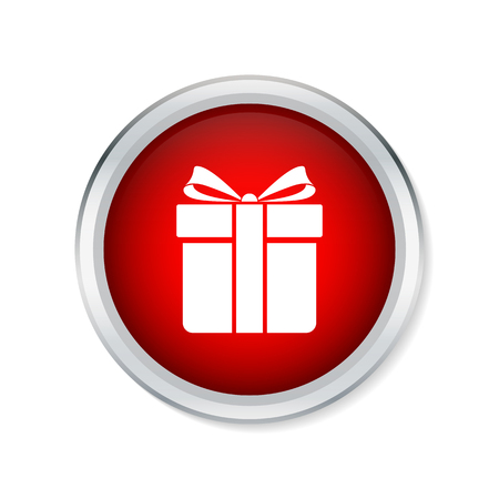 red gift box: Gift box icon on red round button Illustration