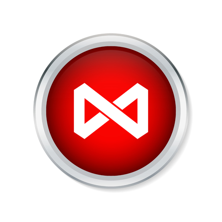 infinity symbol: Infinity symbol icon on red round button Illustration