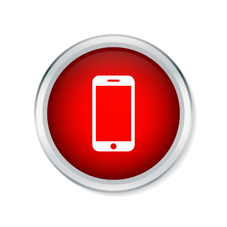 phone button: Smart phone icon on red round button