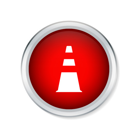 traffic pylon: Traffic cone icon on red round button Illustration