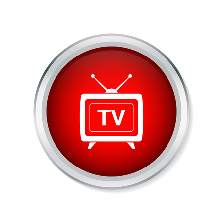 switcher: TV icon on red round button Illustration