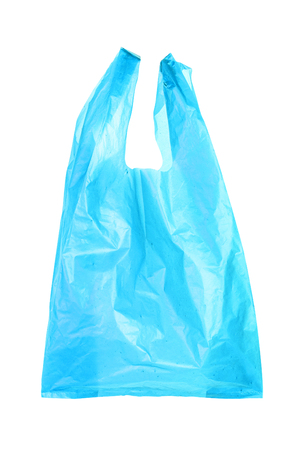 Blue plastic bags isolated on white background
