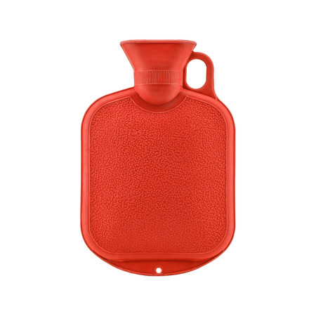 Red hot water bottle or bag isolated on white background Stock Photo