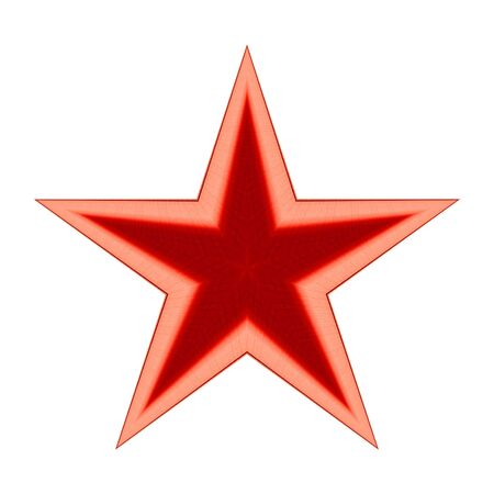 Red star isolated on white background, Clipping path Stock Photo