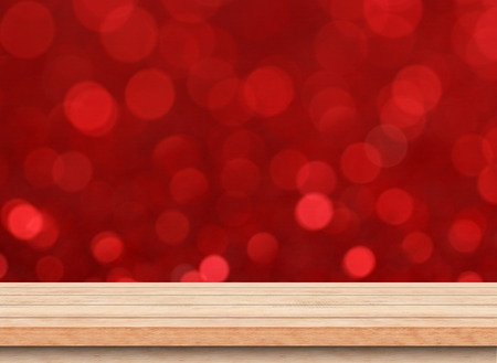 christmas lights display: Christmas holiday background with empty wooden deck table, Template mock up for display of product.