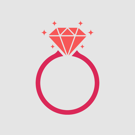 Diamond engagement ring icon on gray background, flat design style. Vector illustration eps 10.