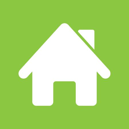 residential homes: House icon on green background, flat design style. Vector illustration eps 10. Illustration