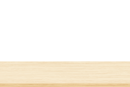 Empty brown wood table top isolated on white background