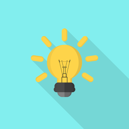 Light bulb icon with long shadow on blue background, flat design style