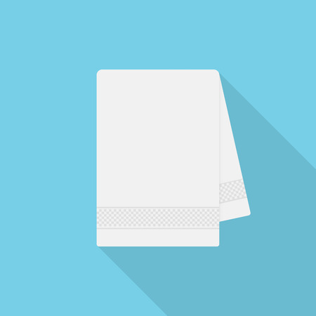 Towel icon with long shadow on blue background, flat design style