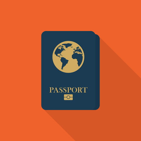 Passport icon with long shadow on orange background, flat design style