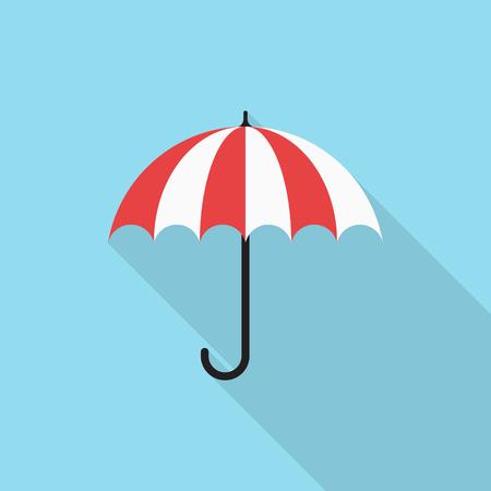 Umbrella icon with long shadow on blue background, flat design style Ilustrace