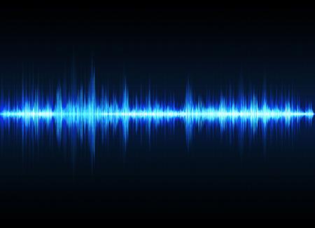 Schallwellenvektorhintergrund. Blauer digitaler Equalizer
