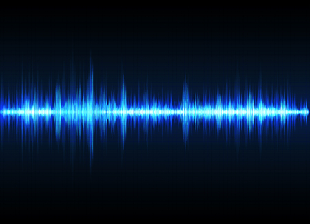 Sound wave vector background. Blue digital equalizer