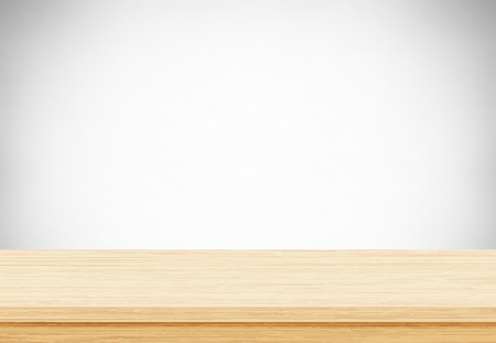 Empty wood table top on gray background, Template mock up for display of product. Vector illustration eps 10. Ilustrace