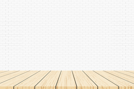Empty wood table top on white brick wall background, Template mock up for display of product. Vector illustration eps 10. Ilustrace