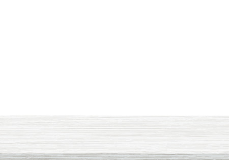 Empty wood table top on white background, Template mock up for display of product