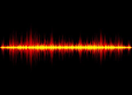 Sound wave vector background. Orange digital equalizer Ilustração