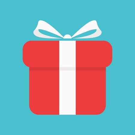 Gift box icon on blue background Ilustração