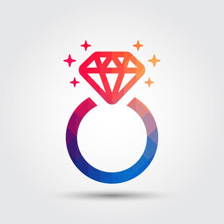 Diamond engagement ring icon, Geometric style
