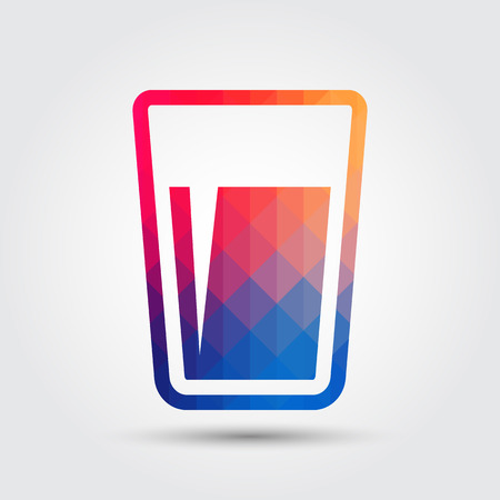Glass of water icon, Geometric style