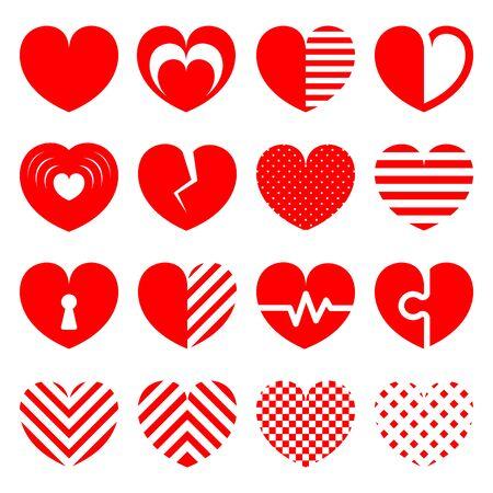 Red heart icon set on white background 矢量图像