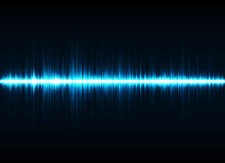 Sound waves oscillating glow light. Abstract technology background 矢量图像