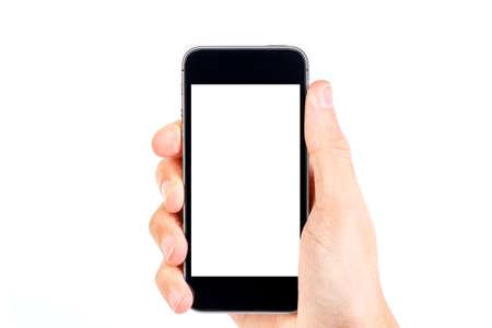 Hand holding black smartphone isolated on white background