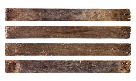 Empty wooden sign board isolated on white background with clipping path. Old plank wood. Used for montage to add text